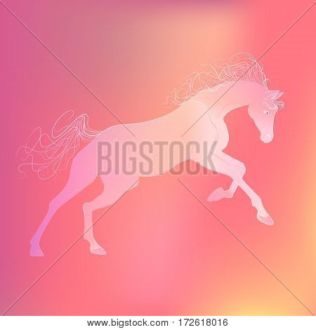 delicate glowing vector illustration of a galloping horse. gentle pink yellow background