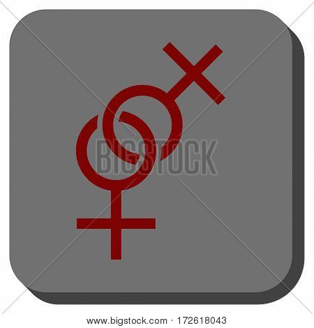 Lesbian Love Symbol interface icon. Vector pictogram style is a flat symbol inside a rounded square button dark red and black colors.