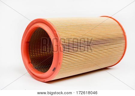 Round Car Engine Air Filter Isolated Over White Background