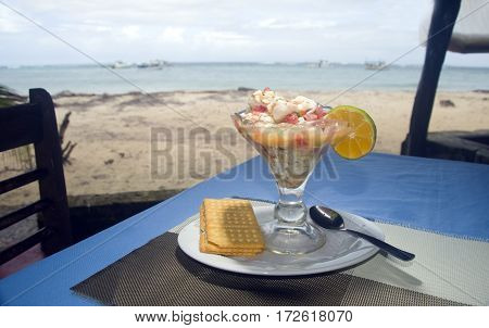 fresh lobster ceviche Central America style as photographed in Big Corn Island Nicaragua