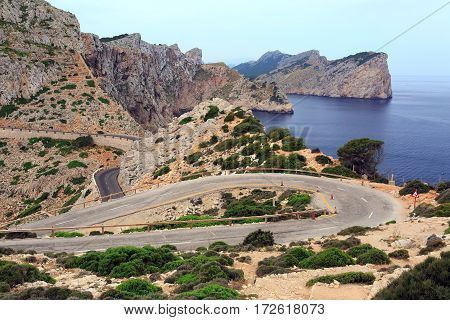 Panoramic view of the Cape Formentor on island Majorca Spain.