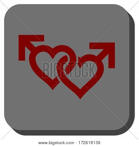 Linked Gay Hearts interface icon. Vector pictogram style is a flat symbol centered in a rounded square button dark red and black colors.