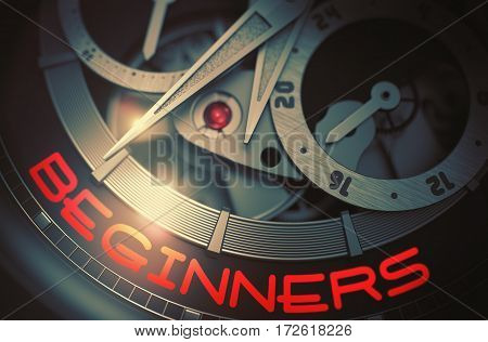 Beginners on the Automatic Pocket Watch, Chronograph Close-Up. Beginners on the Face of Elegant Wristwatch, Chronograph Close View. Time and Work Concept with Glow Effect and Lens Flare. 3D Rendering.