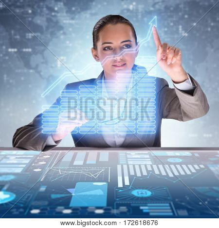 Businessman in futuristic trading concept