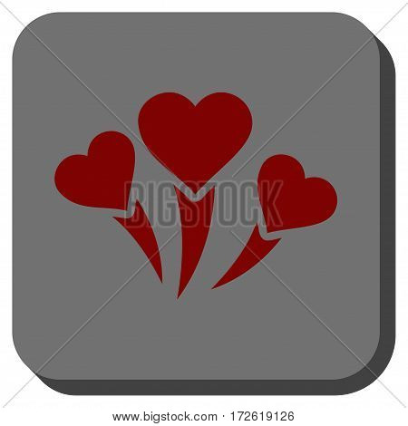 Love Heart Fireworks toolbar icon. Vector pictogram style is a flat symbol centered in a rounded square button dark red and black colors.