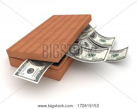 Box and currency dollars money. 3D render