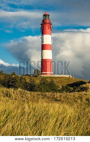 Lighthouse in Wittduen on the island Amrum Germany.