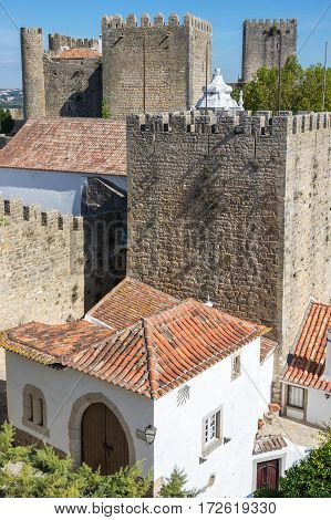 View of castle in the medieval town of Obidos in Portugal
