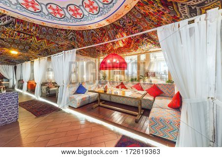 MOSCOW - AUGUST 2014: Interior Chaihana Lounge Eastern restaurant in a traditional style. Cozy private cabin in oriental style