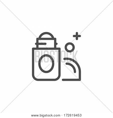 Roll on deodorant line icon isolated on white. Vector illustration