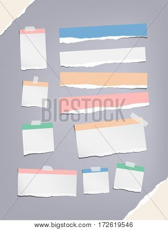 Ripped colorful notebook, copybook, note paper strips, stuck with sticky, adhesive tape