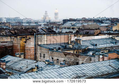 top view on roofs of Saint Petersburg