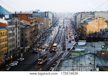 the Central street of St. Petersburg on a rainy evening