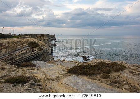 The coast of Atlantic ocean in Peniche Portugal
