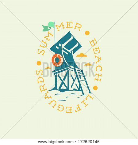 Summer Beach Lifeguards Tower Drawing Oval Emblem Logo Label Design. Vector Graphic.