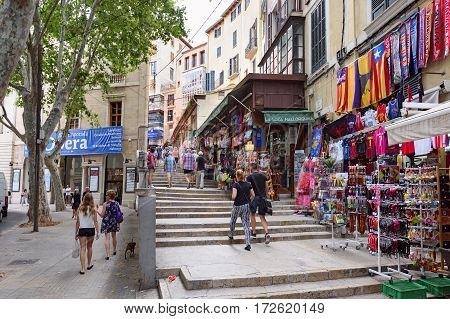 PALMA DE MALLORCA/ SPAIN - JUNE 16. Shopping street in the center of Palma de Majorca on June 16, 2016, Spain.