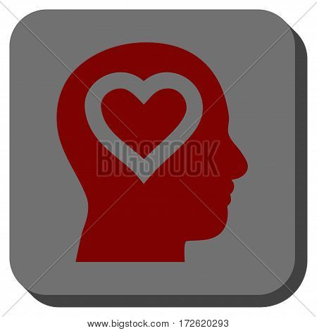 Love In Head square button. Vector pictograph style is a flat symbol inside a rounded square button dark red and black colors.
