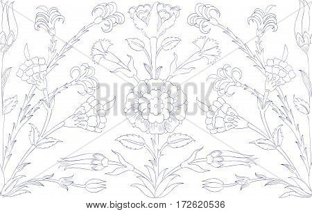 Traditional  Arabic ornament seamless for your design. Floral ornamental seamless pattern  for coloring book, ceramic tile,  interior decoration, wrapping paper, graphic design and textile. Iznik.