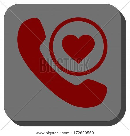 Love Phone Call interface toolbar icon. Vector pictograph style is a flat symbol centered in a rounded square button dark red and black colors.