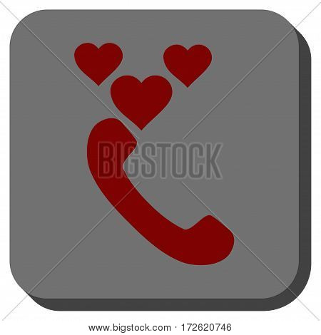 Love Phone Call interface toolbar icon. Vector pictogram style is a flat symbol centered in a rounded square button dark red and black colors.