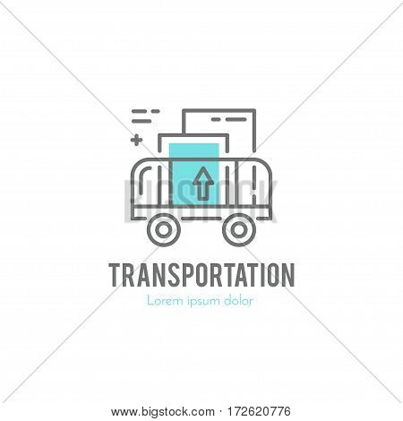 Line style logotype template with cargo cart. Easy to use business template.
