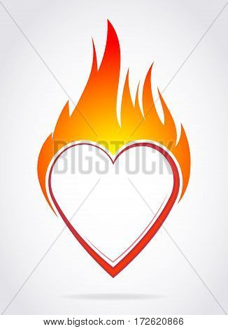 Vector blazing colorful heart with flame for your Valentine's design or tattoo.