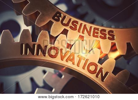 Business Innovation - Illustration with Lens Flare. Golden Metallic Cog Gears with Business Innovation Concept. 3D Rendering.