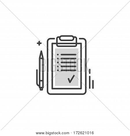 Modern line style logo or icon with tablet list. Checklist tablet, business note check list, task check list paper, reminder organizer information check list, report and mark vector illustration.