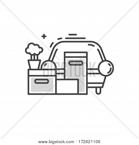 Clean and minimalistic symbol of moving into a new apartment. Housewarming or moving concept. A bunch of things. Line style vector illustration.