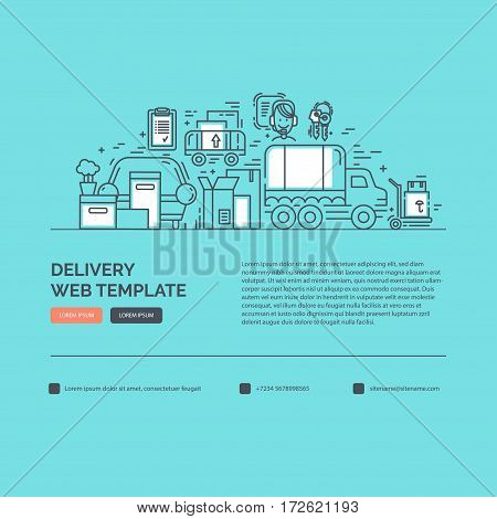 Web design template with line icons for delivery, moving service or trucking industry. Ideal for business layout. Clean and minimalistic concept.