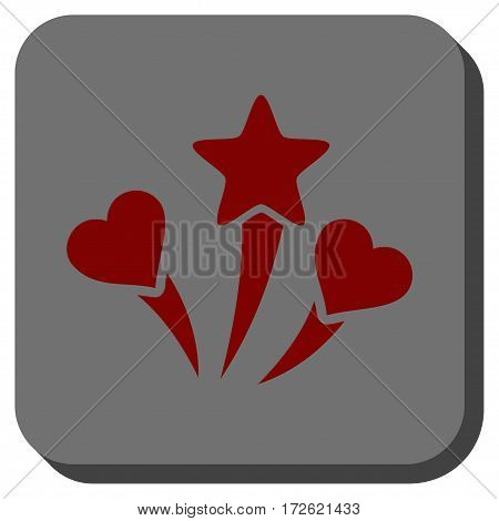 Lovely Fireworks interface icon. Vector pictogram style is a flat symbol on a rounded square button dark red and black colors.