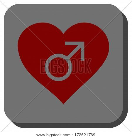 Male Love Heart square button. Vector pictogram style is a flat symbol centered in a rounded square button dark red and black colors.