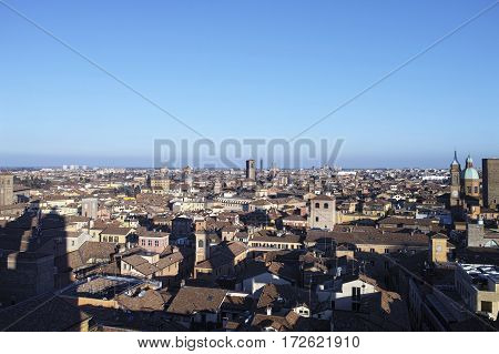 aerial view of bologna take from San Pietro Church