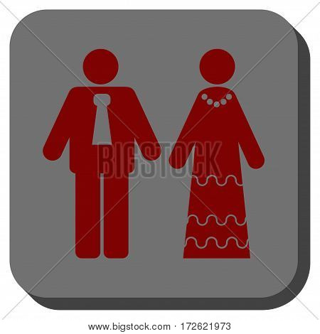 Newlyweds toolbar button. Vector pictogram style is a flat symbol on a rounded square button dark red and black colors.