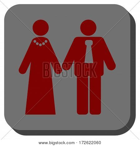 Newlyweds interface toolbar button. Vector pictograph style is a flat symbol in a rounded square button dark red and black colors.