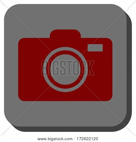 Photo Camera rounded button. Vector pictograph style is a flat symbol inside a rounded square button dark red and black colors.