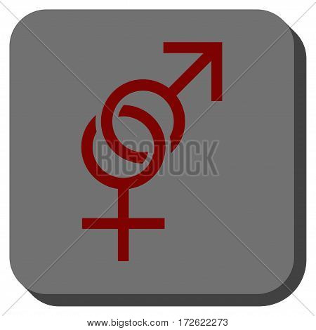 Sex Symbol interface toolbar icon. Vector pictogram style is a flat symbol inside a rounded square button dark red and black colors.