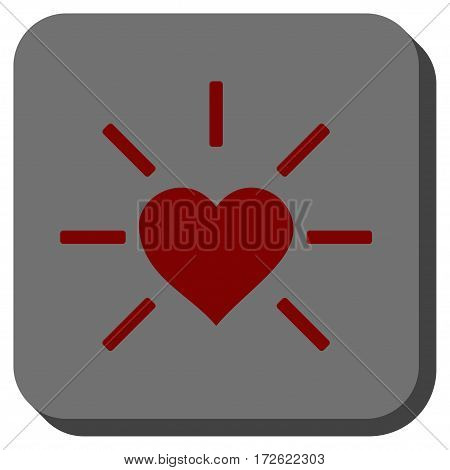 Shiny Love Heart interface toolbar icon. Vector pictogram style is a flat symbol on a rounded square button dark red and black colors.