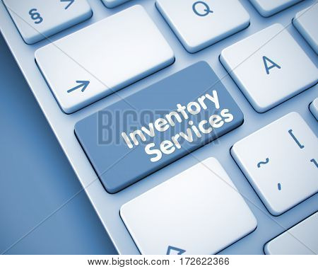 Service Concept with Computer Enter Key on the Keyboard: Inventory Services. Online Service Concept: Inventory Services on the Slim Aluminum Keyboard Background. 3D Render.
