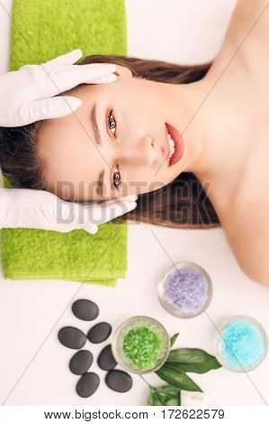 Body care. Spa body massage treatment. The girl relaxes in the spa salon.