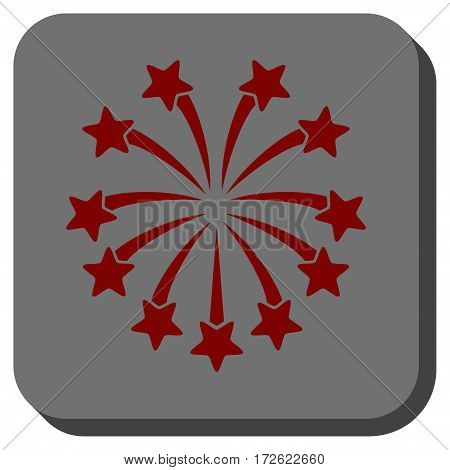 Spherical Fireworks interface toolbar icon. Vector pictograph style is a flat symbol centered in a rounded square button dark red and black colors.