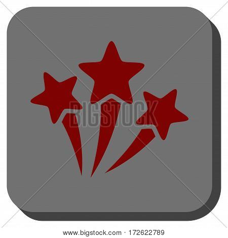 Star Fireworks rounded button. Vector pictograph style is a flat symbol in a rounded square button dark red and black colors.