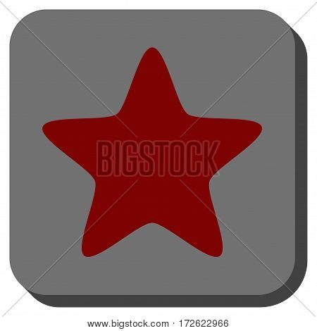 Star interface icon. Vector pictogram style is a flat symbol inside a rounded square button dark red and black colors.