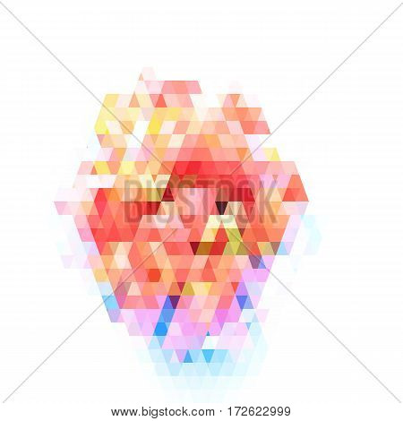 Abstract geometric pattern on white background. Colorful stained-glass pattern. Can be used as banner or logo. Vector