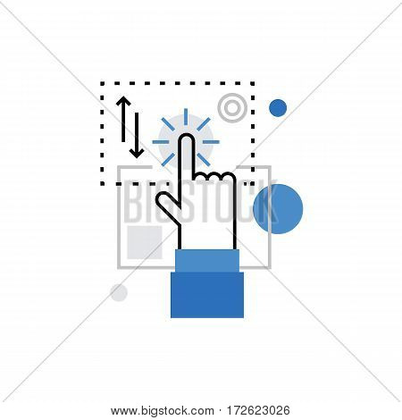 Modern vector icon of touchscreen technology interaction multi touch control. Premium quality vector illustration concept. Flat line icon symbol. Flat design image isolated on white background.