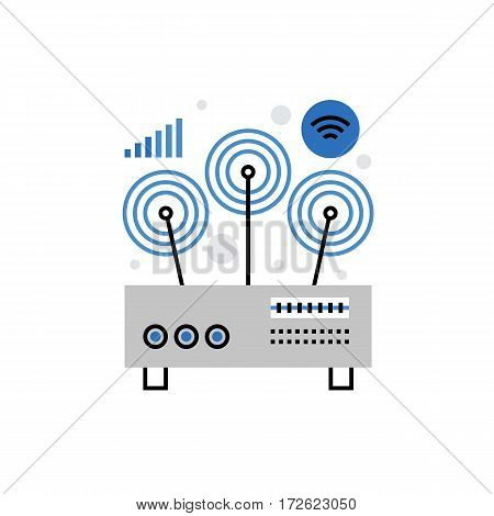 Modern vector icon of wifi router wireless network connection and receiving signal. Premium quality vector illustration concept. Flat line icon symbol. Flat design image isolated on white background.