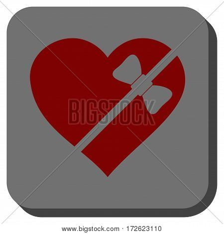 Tied Love Heart interface toolbar icon. Vector pictograph style is a flat symbol on a rounded square button dark red and black colors.