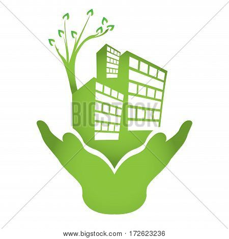 Abstract green city graphic design, Vector illustration
