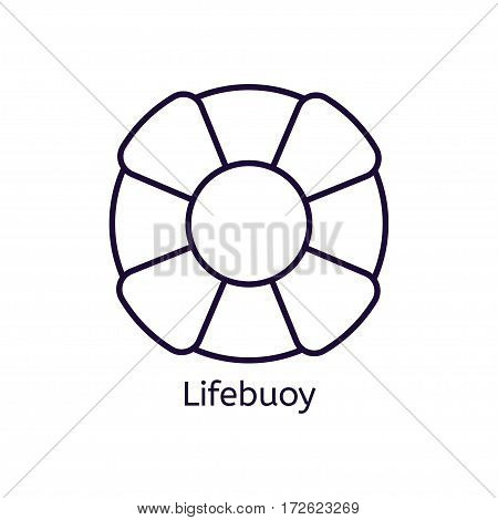 Vector lifebuoy icon on a white background. Thin line icon for web site, visit card, poster, banner etc.