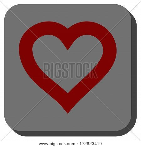 Valentine Heart toolbar button. Vector pictograph style is a flat symbol on a rounded square button dark red and black colors.